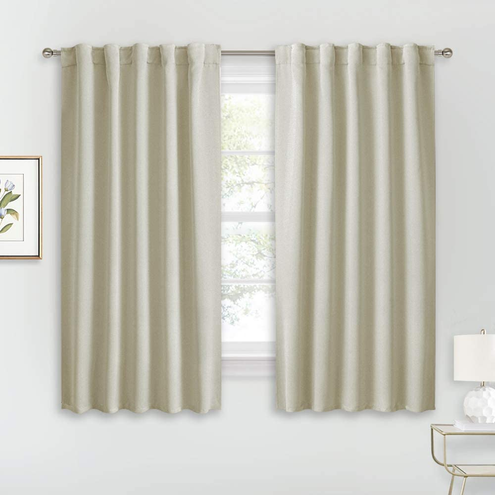 RYB HOME Blackout Curtains & Drapes - Light Block Thermal Insulated Privacy Window Covering for Bedroom Living Room Office, W 42 x L 54 inch, Beige, 2 Panels