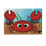 NYMB KOTOM Underwater World for Kids Decor, Cartoon Red Sweet Crab Character Bath Rugs, Non-Slip Doormat Floor Entryways Indoor Front Door Mat, Kids Bath Mat, 15.7x23.6in, Bathroom Accessories