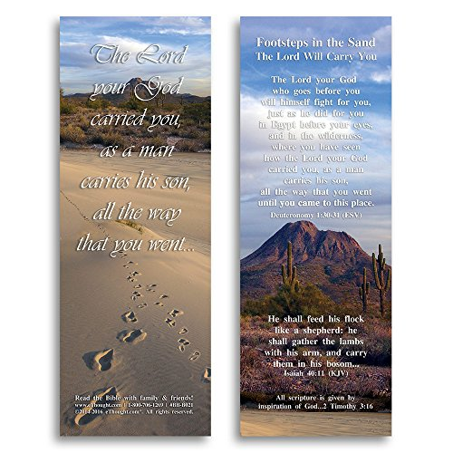 Bible Verse Cards, by eThought - Footsteps in the Sand, The Lord Will Carry You - Pack of 25 Bookmark Size Cards -