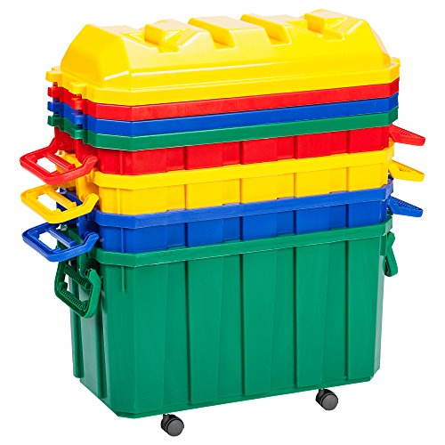 ECR4Kids 18-Gallon Stackable Storage Trunk, Assorted (4-Pack) by ECR4Kids