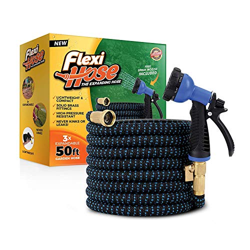 Flexi Hose & 8 Function Nozzle, 50 FT Lightweight Expandable Garden Hose | No-Kink Flexibility – Extra Strength with 3/4 Inch Solid Brass Fittings & Double Latex Core|Rot,Crack, Leak Resistant. (Blue)