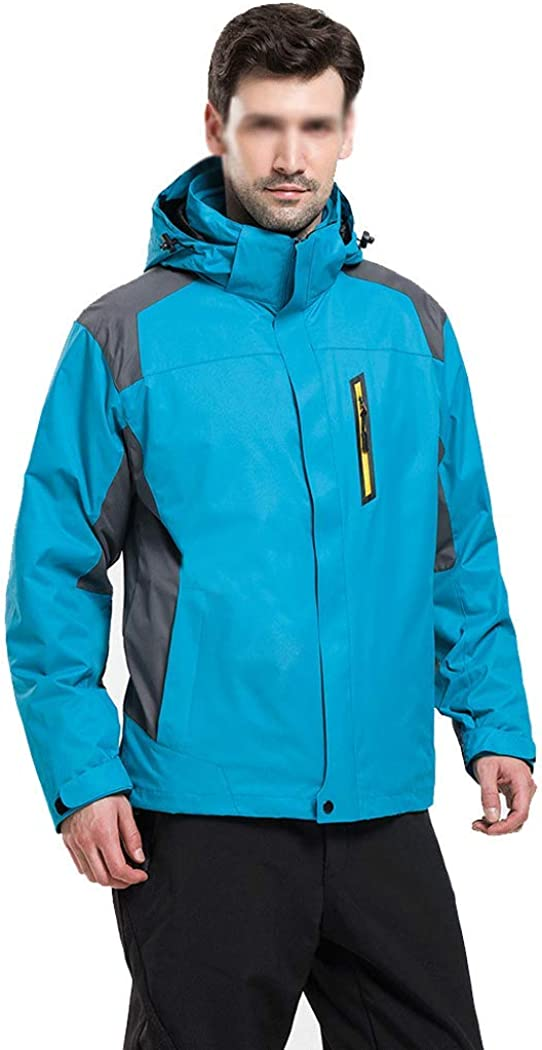 メンズ冬のアウトドアツーピース取り外し可能なライナージャケット冬服暖かい作業服 青 B XXL