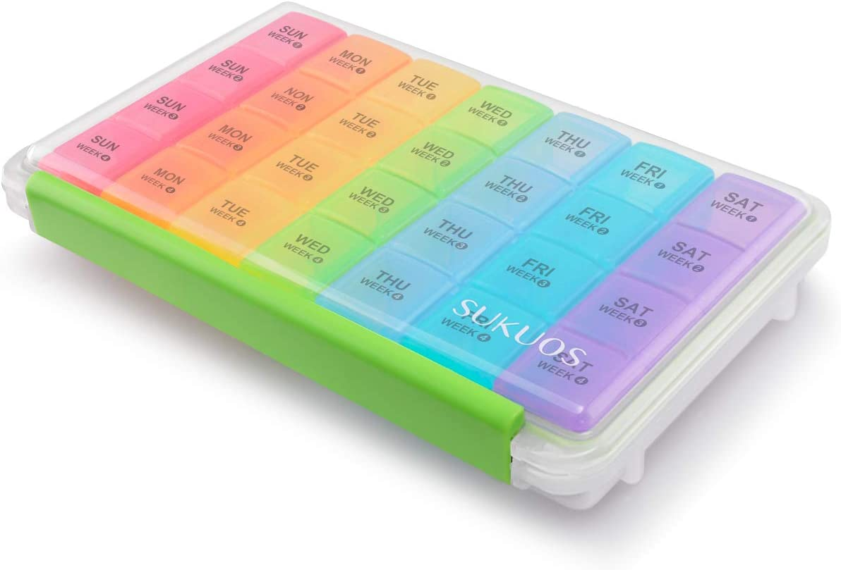 Monthly Pill Organizer 28 Day Case, Sukuos Moisture-Resistant Large 4 Week Month Pill Cases with Dust-Proof Box for Pills/Vitamin/Fish Oil/Supplements