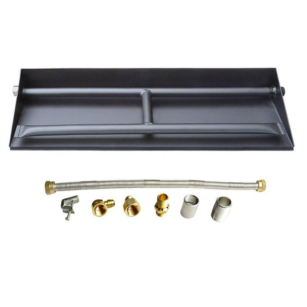Stanbroil 14.5-inch Propane Gas Powder Coated Steel Fireplace Dual Flame Pan Burner Kit