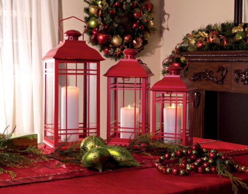 Set of 3 Red Multi-Sized Mission-Style Pillar Candle Lantern