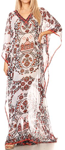 Shoulder Dress Georgette One - Sakkas P4 - LongKaftan Wilder Printed Design Long Semi Sheer Caftan Dress/Cover Up - 17158-WhiteRed - OS