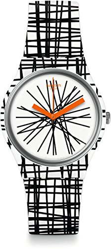 Swatch Women's Originals GW183 Black White Multi Rubber Analog Quartz Fashion Watch
