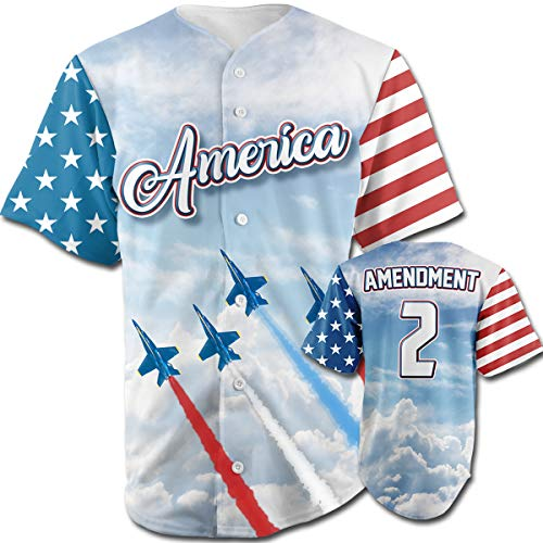 0deee322b Greater Half Team America 2nd Amendment Jersey (Small-XXXXL) Blue