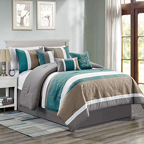 - 11 Piece ABEL Teal/Gray/Taupe Bed in a Bag Set Cal King