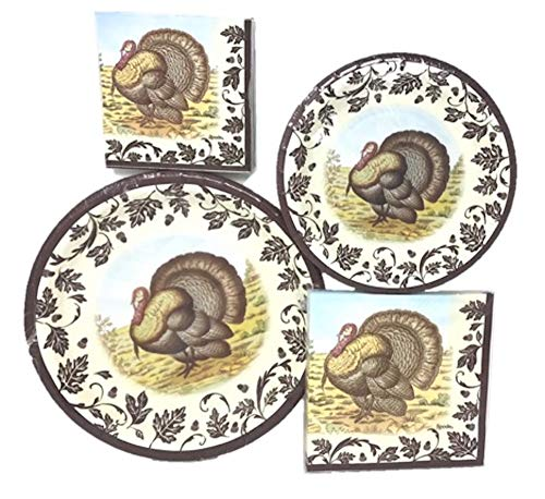 Spode/C.R. Gibson Fall Woodland Turkey Collection - Disposable Paper Plate/Napkin Bundle, Serves 8