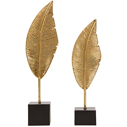 Glitzhome Glam Accent Collectible Figurine Brass Painted Leaf Table Decor, Set of 2 ()