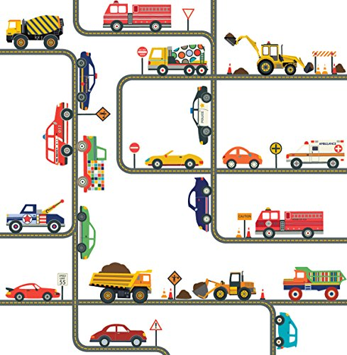 Curved Wall Construction - Cars, Trucks, Emergency EMS and Construction Decals Plus Straight and Curved Road Fabric Wall Decals, Transportation Decals, Repositionable