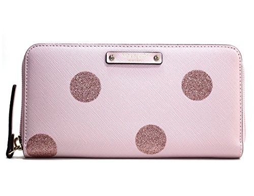 Pink Kate Spade - Kate Spade Neda Haven Lane Glitter Polka Dot Pink Zip Around Wallet