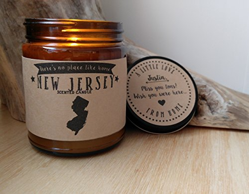 New Jersey Scented Candle Missing Home Homesick Gift Moving Gift New Home No Place Like Home State Candle Thinking of You Valentines Day Gift