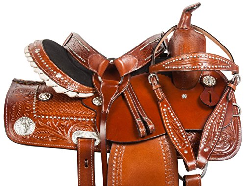 BEAUTIFUL HAND MADE WESTERN SILVER STUDDED PLEASURE TRIAL SHOW BARREL RACER RODEO TOOLED LEATHER HORSE SADDLE TACK PACKAGE FREE HEADSTALL REINS BREAST COLLAR (Tooled Roper Breast Collar)