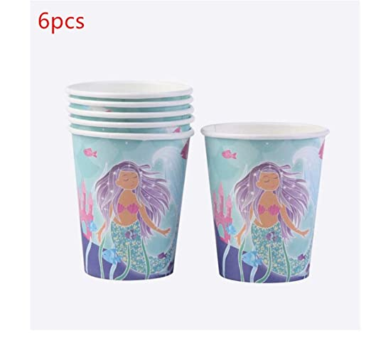 SDRTYHJ 12PCS Mermaid Party Vajilla desechable Set Mermaid ...