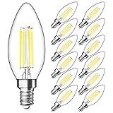 SHINE HAI Candelabra LED Filament Bulbs Dimmable 40W Equivalent, 5000K Daylight White Chandelier B11 LED Bulb E12 Base Decorative Candle Light Bulb, Pack of 12