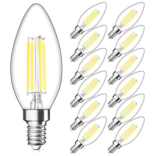 SHINE HAI Candelabra LED Filament Bulbs Dimmable 40W Equivalent, 5000K Daylight White Chandelier B11 LED Bulb E12 Base Decorative Candle Light Bulb, Pack of 12