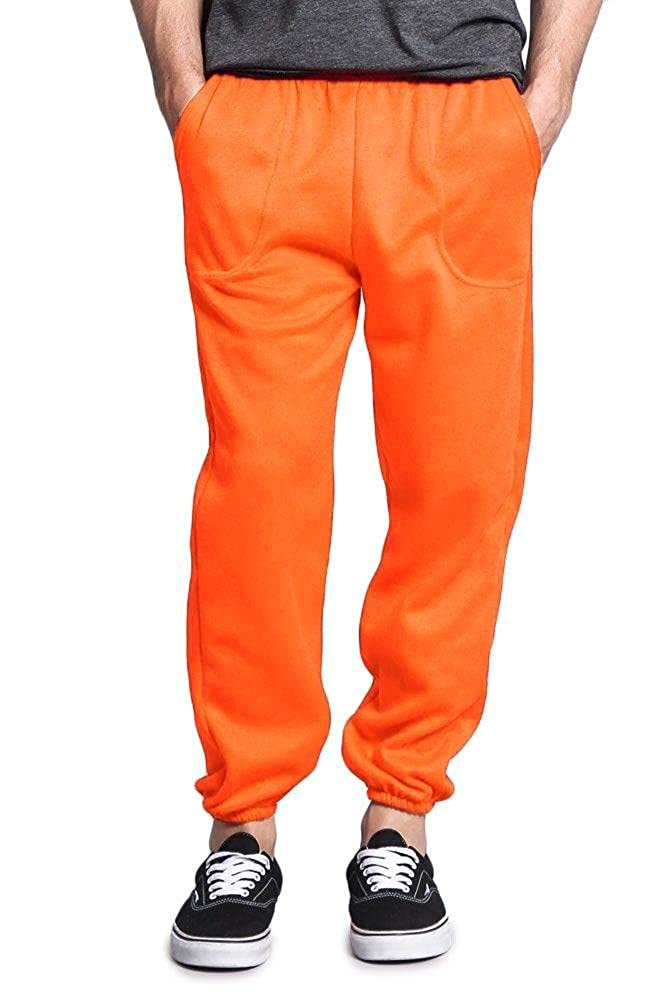 G-Style USA Men's Elastic Cuff Fleece Sweatpants - HILLSP - NEON ORANGE - Medium