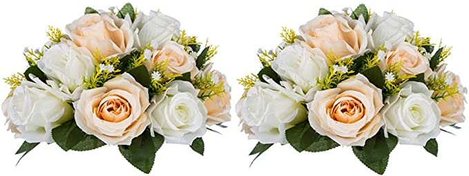 2 Piezas Flor Artificial, 15 Cabezas Rosas Plástico con Base ...