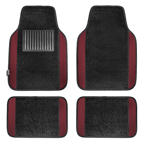 FH Group F14407BURGUNDY Premium Full Set Carpet Floor Mat (Sedan and SUV with Driver Heel Pad Burgundy)