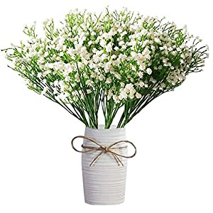 MARJON Flowers9pcs Artificial Fake Flowers Gypsophila Baby Breath Bouquets Silica Gel for Wedding Home DIY Decor (White) 89