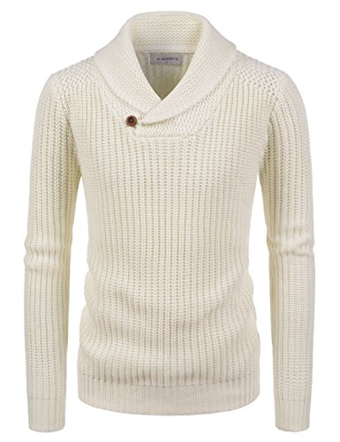 Wool Jacket Blend Ivory (NEARKIN (NKNKKN701) Mens Ribbed Wool Blend Pullover Shawl Collar Knitted Sweaters IVORY US S(Tag size S))