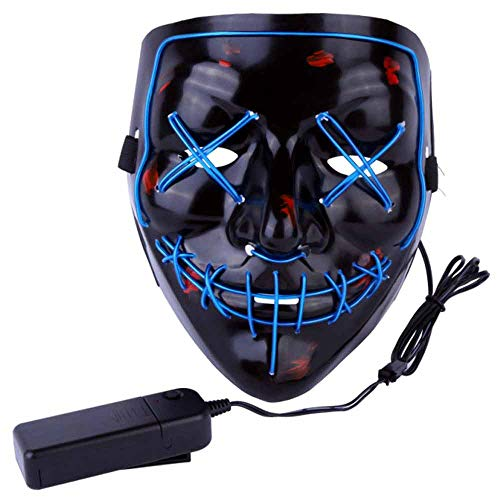 AIWOGEP Halloween Mask LED Light Up Mask for Festival Cosplay Halloween Costume Blue]()