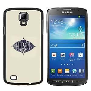 LECELL--Funda protectora / Cubierta / Piel For Samsung Galaxy S4 Active i9295 -- Texto Áureo París Ink Beige Azul Talento --