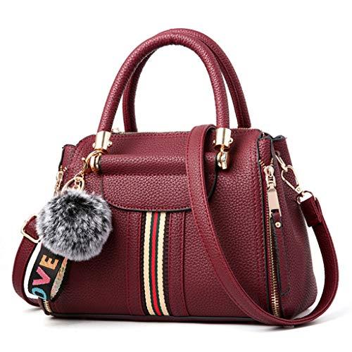Mode féminine Sac à Main épaule Simple Messenger Bag 9 Couleurs (25 * 18 * 11cm) (Couleur : Vin Rouge)
