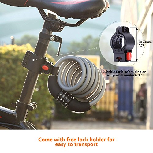 Bike Lock, 6-Feet Heavy Duty Bike lock Cable Self Coiling Resettable Combination Cable Bike Locks with Complimentary Mounting Bracket, 6 Feet x 1/2 Inch - HCL2C by TACKLIFE (Image #5)