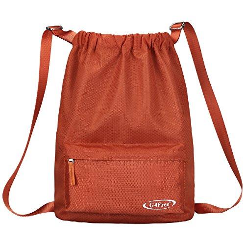 Cinch Nylon (G4Free Drawstring Sackpack Sports Gymbag Daypack 20L Lightweight Backpack Cinch Bag(Orange))