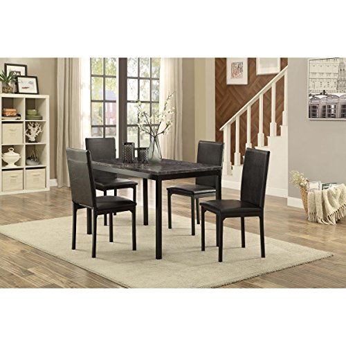 Thorndike Modern 5 Piece 48 inch Faux Marble Dining Table Set in Black - Table, 4 Chairs