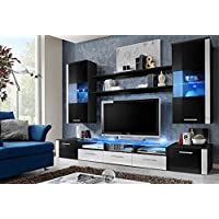FRESH Modern Wall Unit / Entertainment Centre / Spacious and Elegant Furniture / Tv Cabinets / Tv Stand for Modern Living Room / High Capacity Living Room Furniture (Black)