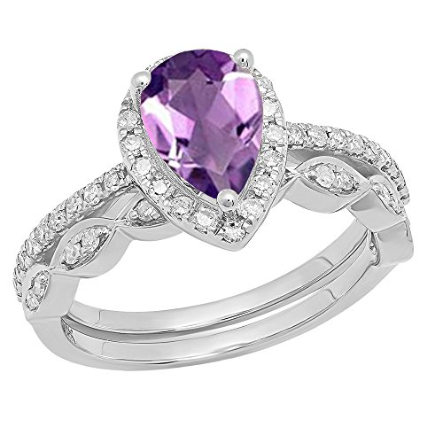 - Dazzlingrock Collection 18K 9X6 MM Pear Amethyst & Round Diamond Ladies Halo Engagement Ring Set, White Gold, Size 10
