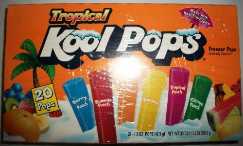 Tropical Kool Freezer Pops 20 Count (Pack of 4)