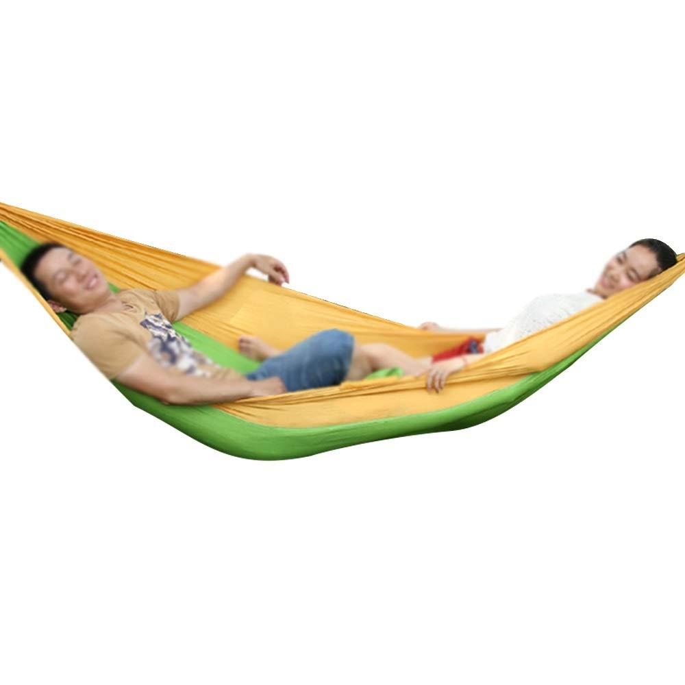 Equipo de vacaciones Hamaca: tela duradera de paracaídas para acampar, una hamaca portátil doble individual para adultos, columpio de hamaca para niños, prevención de vuelcos, adecuado para la familia