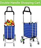 Heavy Duty Folding Shopping Cart, Aluminum Double Handle Stair Climbing Grocery Utility Cart with Oxford Cloth Bag, Lightweight Trolley with 8 Wheel