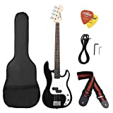 ammoon Solid Wood Electric Bass Guitar PB Style Basswood Body Rosewood Fingerboard