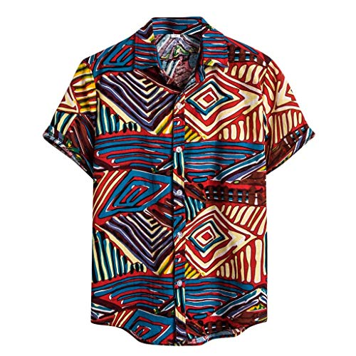 - kaifongfu Mens Ethnic Printed Shirt,Stand Collar Colorful Stripe Short Sleeve Loose Pocket Henley Shirt for Summer(Blue,M)