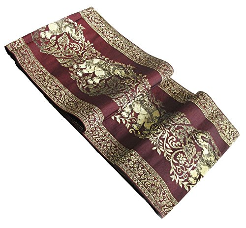 Beautiful Elephant Thai Silk Table/bed Runner Maroon Size : 14 X 72 Inches