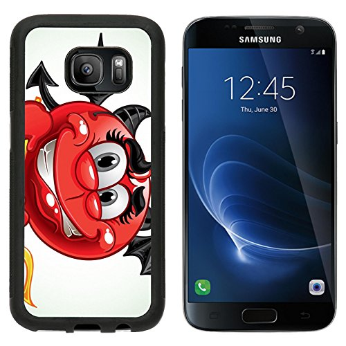 Luxlady Samsung Galaxy S7 Aluminum Backplate Bumper Snap Case IMAGE ID: 23150854 Cheerful smile in costume devil with a pitchfork a series of adult party