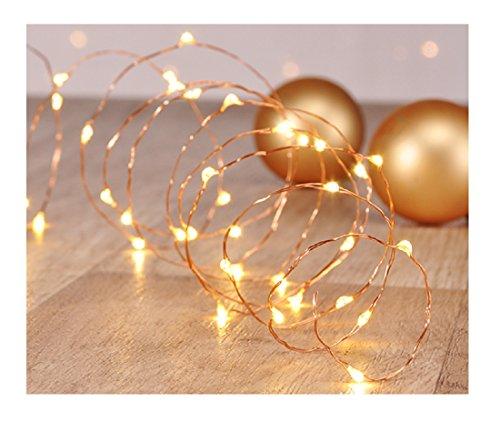 Zarter LED Kupferdraht in Gold Weihnachtsdeko zum schmücken von Kränzen oder Weihnachtsbaum Fensterdeko 2,5m