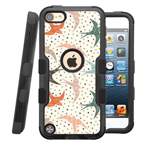 iPod touch 5th / 6th Case, CASECREATOR[TM] For Apple iPod touch 5th / 6th generation () -- NATURAL TUFF Hybrid Rubber Hard Snap-on Case Black Black-Polka Dot Swallows ()
