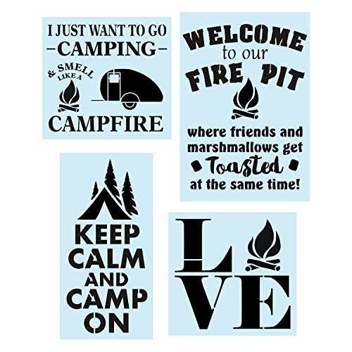 Camping Stencil Bundle, 4 Reusable Stencils, Camp Fire Pit, Camper, Trees & Marshmallows