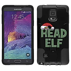 Samsung Galaxy Note 4 Hybrid Case Head Elf on Black 2 Piece Style Silicone Case Cover with Stand for Samsung Galaxy Note 4