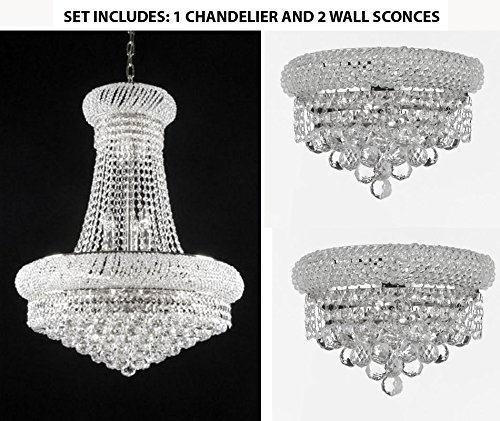 Set of 3-1 French Empire Crystal Chandelier Chandeliers 24x32 and 2 EMPIRE EMPRESS CRYSTAL (tm) WALL SCONCE LIGHTING W 12
