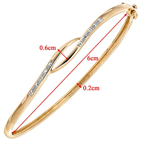 Naava - Bracelet - Femme - Croix - Or Jaune 375/1000 (9 Cts) 6.3 Gr - Diamant 0.004 Cts