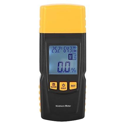 Akozon Medidor de Humedad de Madera Digital LCD 2 Pin Tester para madera paredes techos
