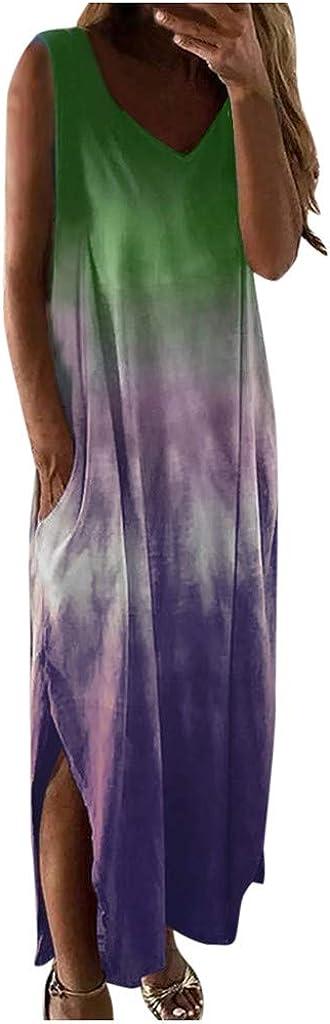 Yesmile Mujeres Vestidos Tie-Dye Casual con Bolsillos Dividido sin Mangas Cuello en V Degradado Faldas Largas para Damas
